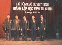 Lễ công bố quyết định thành lập Học viện Tài chính ngày 03/01/2001